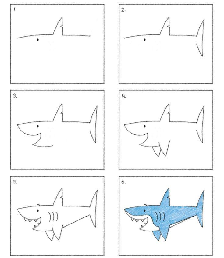 apprendre à dessiner avec des chiffres et des lettres : instructions pour créer un requin