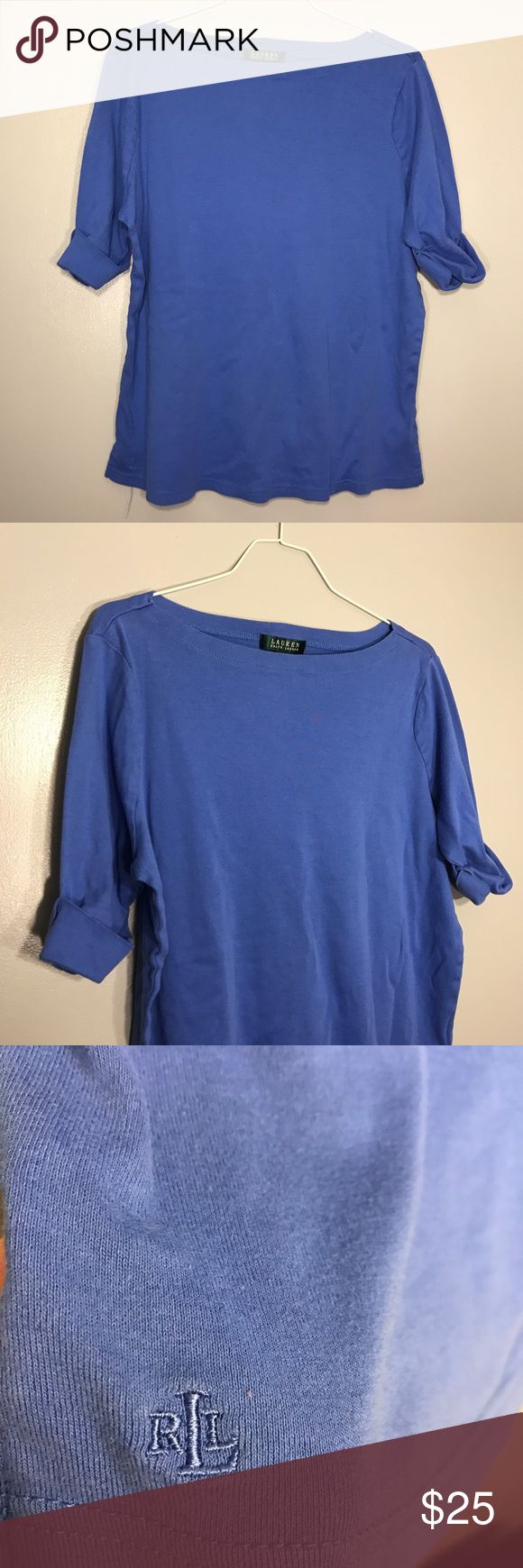 "[Lauren Ralph Lauren] Half Sleeve Royal Blue Shirt Lauren Ralph Lauren Royal Blue Half Rolled Sleeve Top. Excellent Condition. No Flaws. Size 1X. Bust-22"" Length-24"" Lauren Ralph Lauren Tops Tees - Long Sleeve"