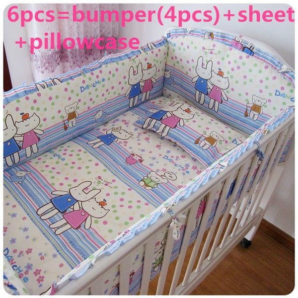 Promotion! 6PCS baby cot sets baby bed bumper Crib Bedding free shipping (bumper+sheet+pillow cover)