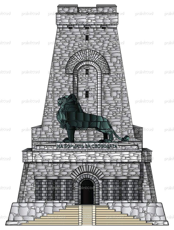 Museum-monument Shipka with entrance stairs and bronze lion