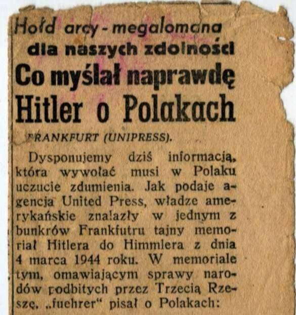 ZHistorii: Co tak naprawdę Hitler myślał o Polakach....