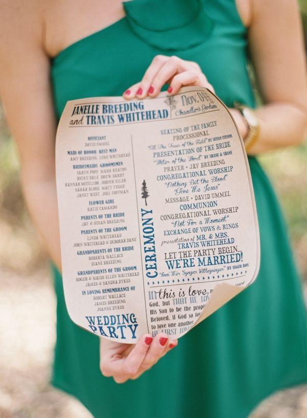 scroll style wedding programs // photo by Brett Heidebrecht // design by Meredith Cooper