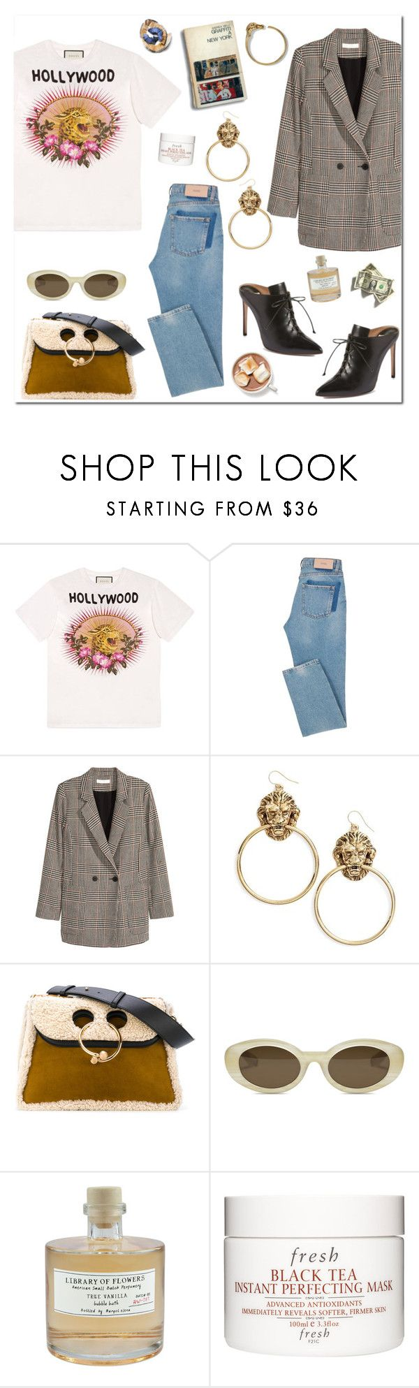 """""""Tshit look"""" by mjangirashvili ❤ liked on Polyvore featuring Gucci, Jakke, Vanessa Mooney, Francesco Russo, J.W. Anderson, Elizabeth and James, Library of Flowers and Fresh"""