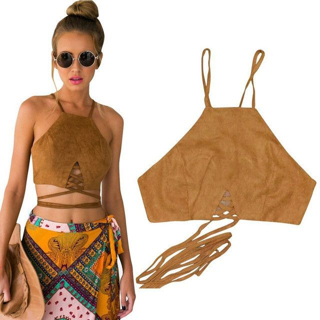 Brown Faux Leather Suede Tank Top Sexy Lace Up Camis Women Tops Slim Cami Party Crop Top Fall Vest