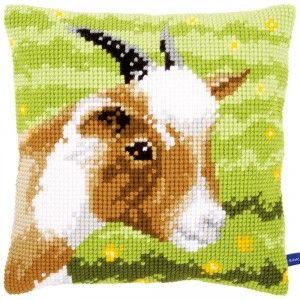 """""""Goat"""": kruissteekkussen om zelf te borduren op voorgeschilderd stramien"""