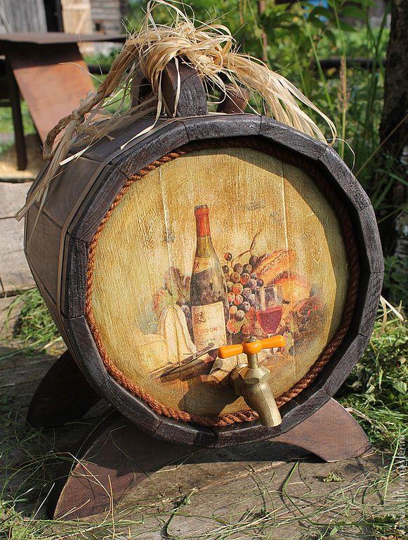 """Купить Винная бочка """"Эх, гуляй, народ! - коричневый, винная бочка, декор для интерьера, Декупаж"""