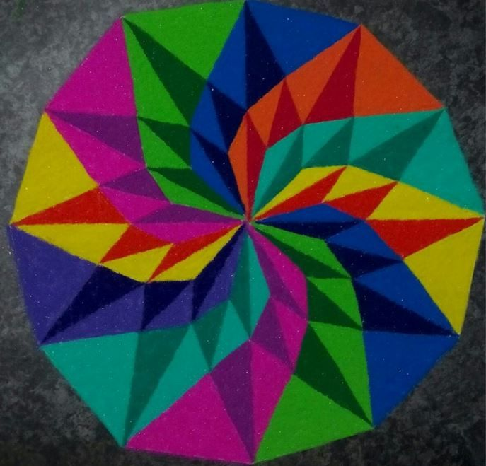 Colorful 3D Rangoli Designs for Competition