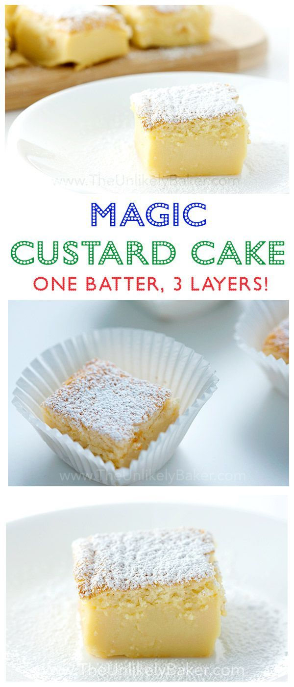 A cake that magically transforms into 3 layers. Just mix, pour and bake. Even muggles can do this! #recipe #dessert