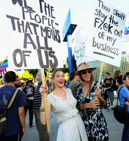 HA! Actress Amber Heard (L) holds a protest sign with her girlfriend Tasya Van Ree (R) during a same-sex marriage advocates demonstration against the stay barring gay marriages on August 19, 2010 in Los Angeles, California. On August 4, District Judge Vaughn Walker ruled against Proposition 8 as unconstitutional, and after his ruling the U.S. Ninth Circuit Court of Appeals granted proponents of Proposition 8 a stay on August 16.