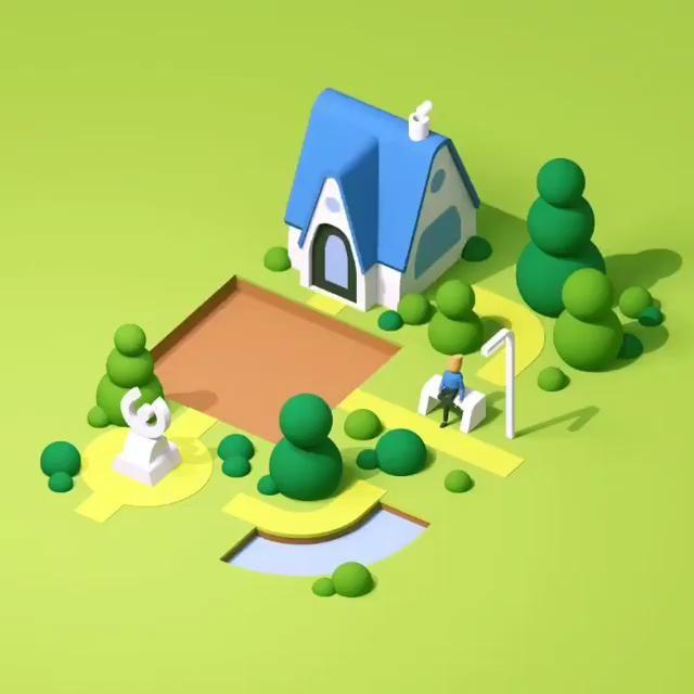 - fd649b6cffafe3de225bca9a14374065 - Garden Blocks. A cute 3D animation by Guillaume Kurkdjian .   #pixelcart