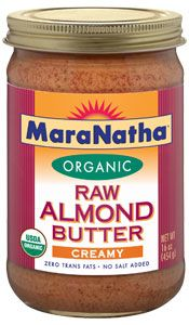 MaraNatha Organic Almond Butter, No Salt Raw, Creamy Almond - 16 oz. Enjoy the distinctive flavor of organic raw almonds in a smooth and creamy texture that's perfect on sandwiches and just right for dipping with whole-grain pretzels, fresh fruit and vegetables.  http://www.vitacost.com/maranatha-organic-almond-butter-no-salt-raw-creamy-almond-16-oz