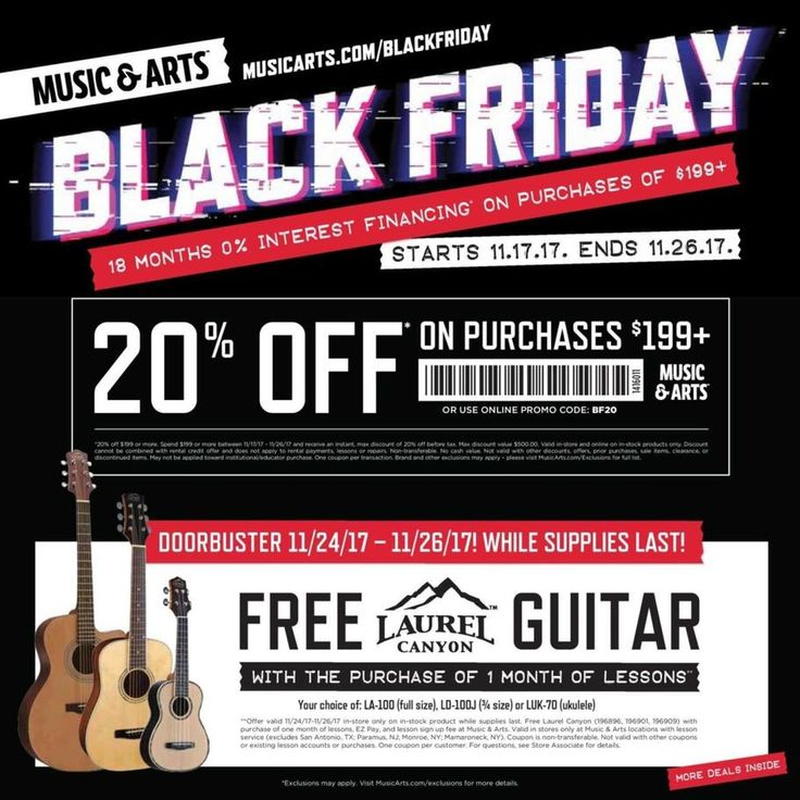 Music & Arts Black Friday 2017 Ad Scan Deals and Sales #coupons  Music & Arts Black Friday 2016 deals start on Friday November 18. Music & Arts specializes in instrument rentals music lessons and band and orchestra instrument sales for students teachers and families. Offering products and resources for the beginning and student musician Music & Arts also has a tab for Hot Deals on instruments and accessories.  Laurel Canyon Guitar  w/ 1-Month Lessons Purchase  Buy Now  Purchase of $199  20%…