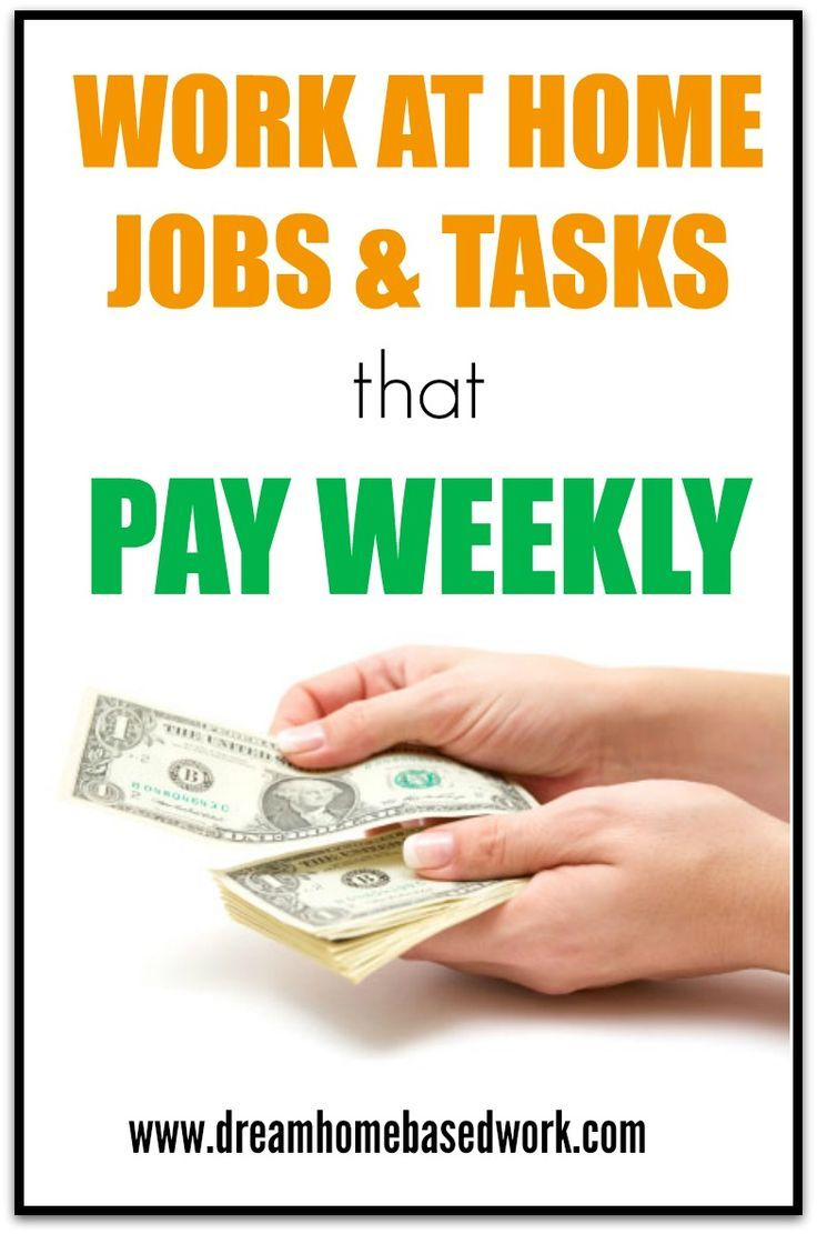 Work at home jobs that will allow you to make money and get paid weekly. Making Money, Making Money Ideas, Making Money Online