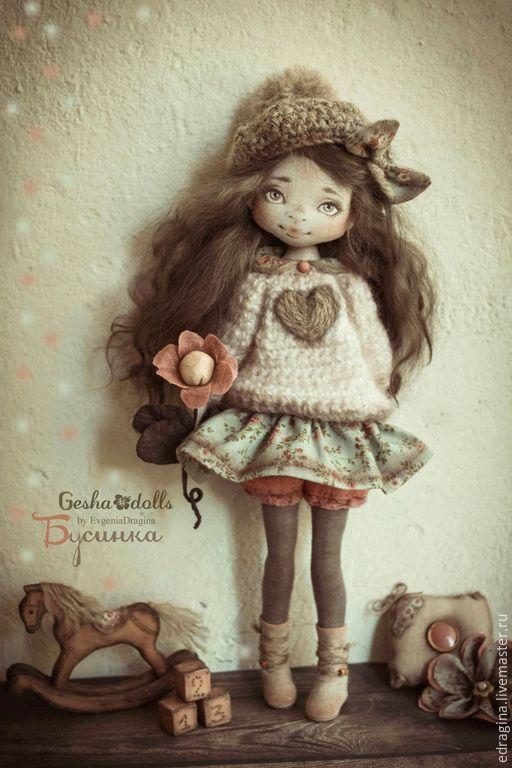 Купить Бусинка - коралловый, мятный, коричневый, нежность, коллекционная кукла, текстильная кукла, лошадка, сердце