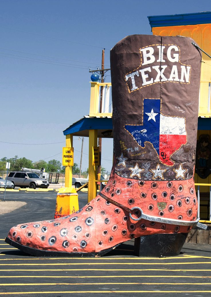 The Big Texan Steakhouse. Amarillo, Texas.  Big Texan Steak Ranch / Competitive Eating Heritage Trail: swallow a 72-oz. steak in an hour and it's free!  Photo by Andy New.