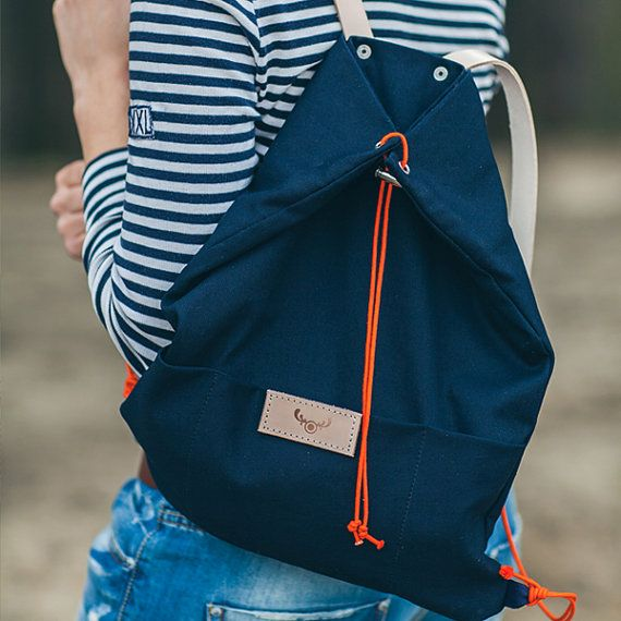 Navy blue cotton backpack KOALA / natural leather handles / perfect for picnic, walking and bicycle trips
