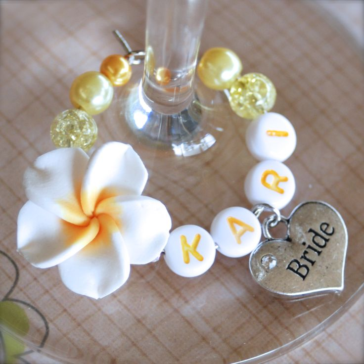 #wedding #wine #charms - Yellow Frangipani Wedding Heart Deluxe « Winky's Widgets | Wine Charms + Event Accessories