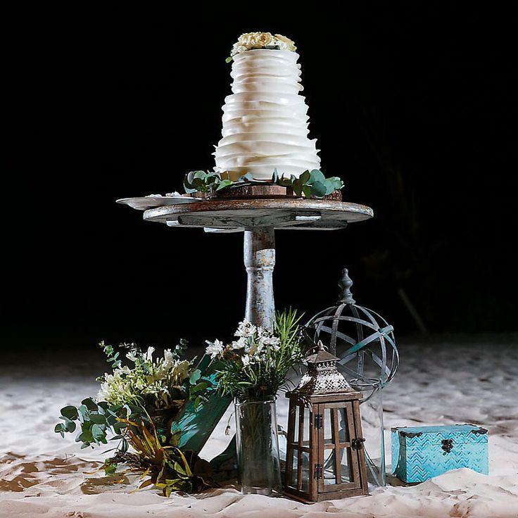 Three Tier Wedding Cake with Flowers - Beach Wedding