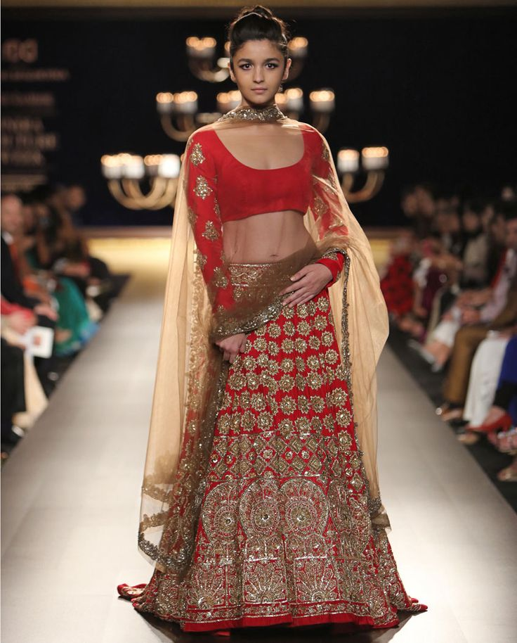 Manish Malhotra Ruby Lengha with Kashmiri Zari work. #IndiaCoutureWeek2014
