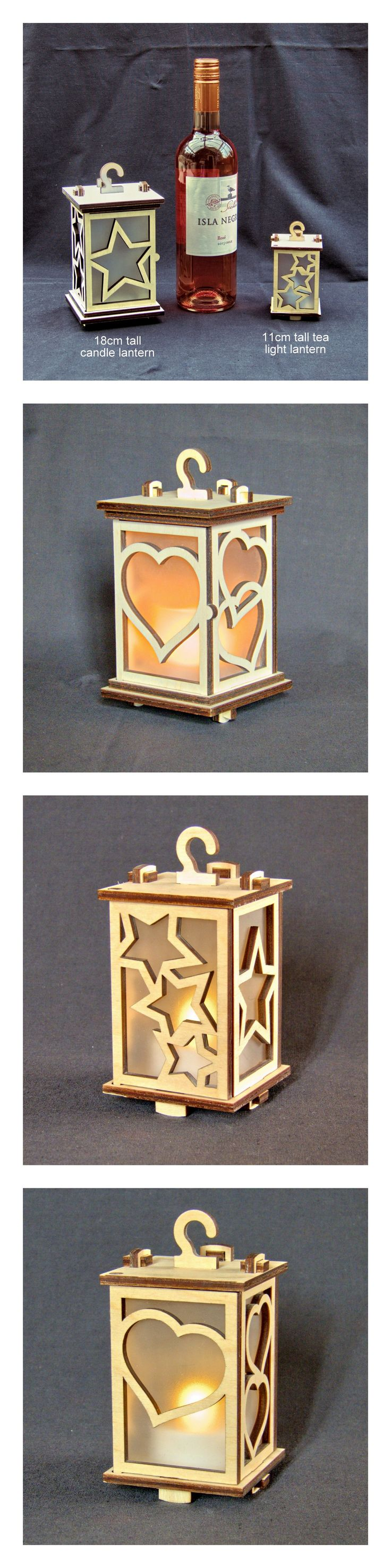 Two sizes of laser cut lantern. Download DXF project files for your laser cutter. The 18cm lantern is cut from 6mm poplar ply, the 11cm lantern is cut from 4mm birch ply.