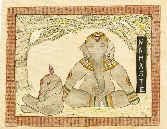 Namaste | Mom and baby elephant doing Yoga :)
