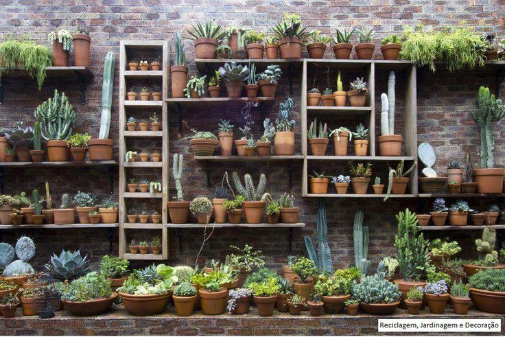 A variety of plant containers in this vertical succulent garden.