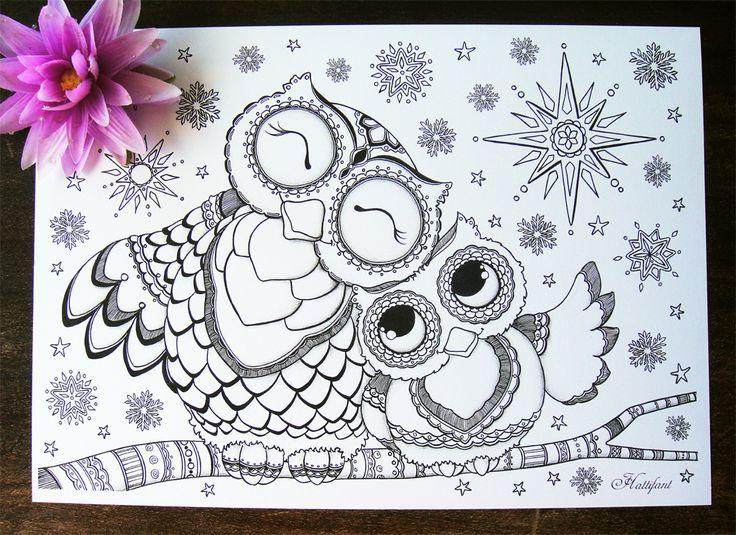 Big Abstract Coloring Pages : Baby owl coloring page for grown ups owl ted and baby owl