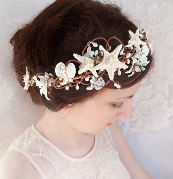 Seashell Hairpiece Starfish Hair Accessories Bridal With Crystals Beach Wedding Accessory