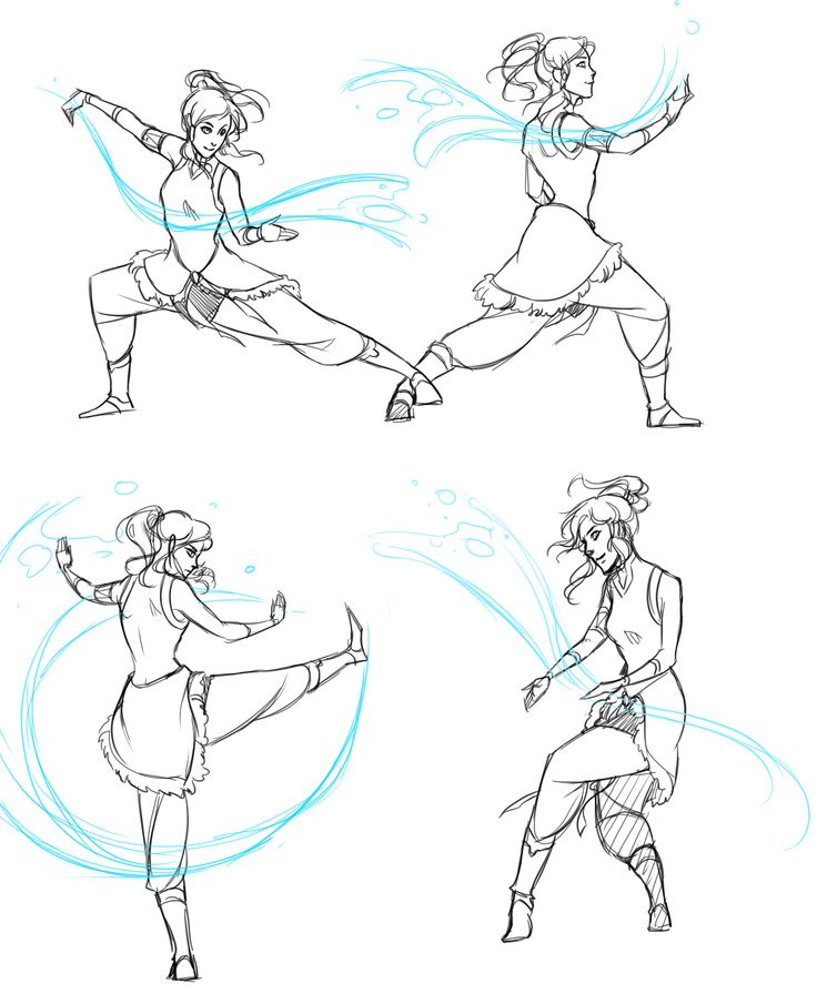 """doromon: """"  Legend of Korra doodles. I watched the first two episodes. It is so fantastic I could not not draw fanart xDD Also, Mako is hot. >w> Referenced the tai chi poses (that's the martial art..."""