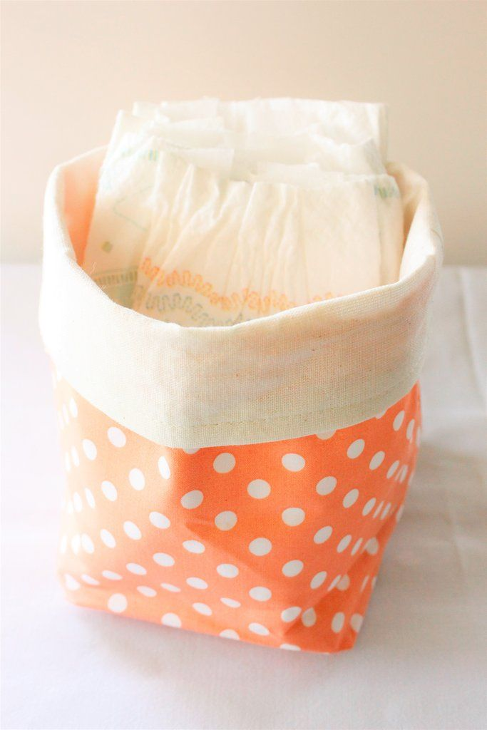 Fabric Basket, Nappy Basket, Makeup Organizer, Toiletries, Toys, Peach, Medium Polka dot