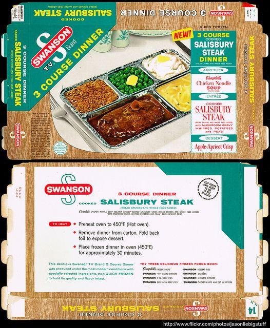 Campbell's Soup Company - Swanson 3 Course Dinner - Salisbury Steak - TV dinner package box - Marathon printer sample - 1962 by JasonLiebig, via Flickr