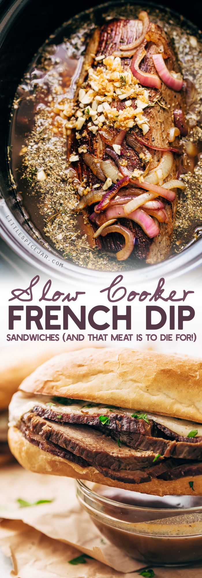 Slow Cooker French Dip Sandwiches - Tender beef that's slow cooked in au jus. These sandwiches are to die for! #frenchdip #frenchdipsandwich #frenchdipsandwiches #slowcooker #crockpot | Littlespicejar.com