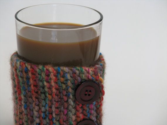 Knitted Cup Cozy Sleeve Multi-Colored Wool with Buttons by AGirlNamedMariaDK on Etsy #cup #cups #mug #mugs #warmer #warmers #cozy #cozies #coffee #tea #cocoa #hot #drink #drinks #etsy #agirlnamedmariadk #tableware #danish #denmark #design #scandinavia #scandinavian #knitted #knit #knitting #thick #chunky #multicolored #multi #colored #colorful #wool #button #buttons #plastic #red #brown #green #blue #purple