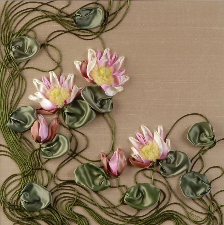 Water Lilies / Ribbon embroidery