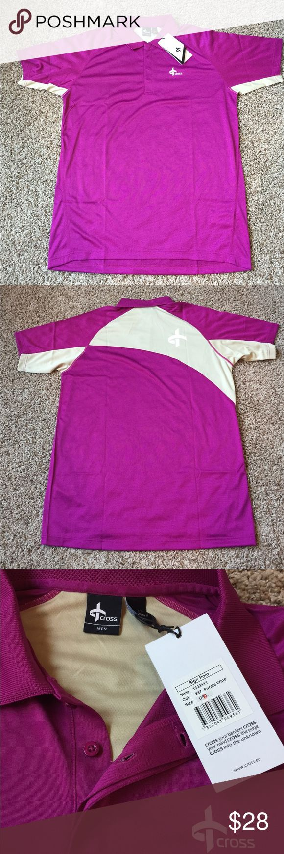NWT Luxury Cross Brand Men's Polo XL Comfort and quality materials make this polo style golf shirt a wonderful addition to any man's wardrobe. Color is Purple Wine with beige side panels. Size XL shirt is in perfect condition and new with tags. Smoke free home. Cross Shirts Polos