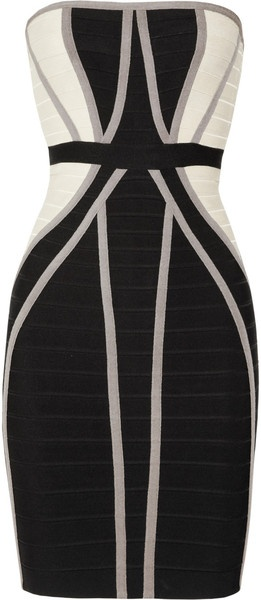 Herve Leger ~ Strapless Paneled Bandage Dress
