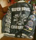 Dallas Cowboys Super Bowl Champions Jacket L NFL Real Leather Letterman