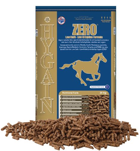 Do you have a horse that is prone to Laminitis, Cushings, Equine Metabolic Syndrome, Tying Up, Insulin Resistance or Obesity? Then do not wait and start feeding HYGAIN® ZERO® the low starch and low sugar complete horse feed today before it's too late.  HYGAIN® ZERO® is high in soluble fibre (35%), fortified with vitamins and minerals and has the lowest sugar content of any complete feed on the market.