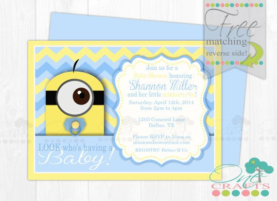 Minion Themed Baby Shower Invite : DIY Baby Minion Printable Digital Invitation
