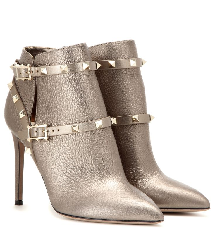 Valentino Rockstud metallic leather ankle boots Gold             $219.00