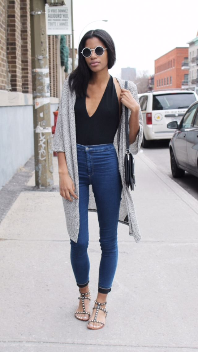 go-to silhouette with the long cardigan. Need a long cardigan