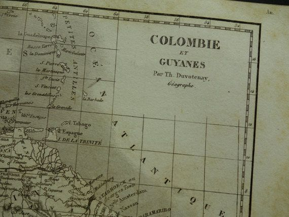 COLOMBIA old map of South America 1854 original by VintageOldMaps