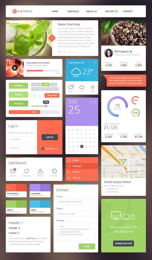 Nice collection of free flat design resources