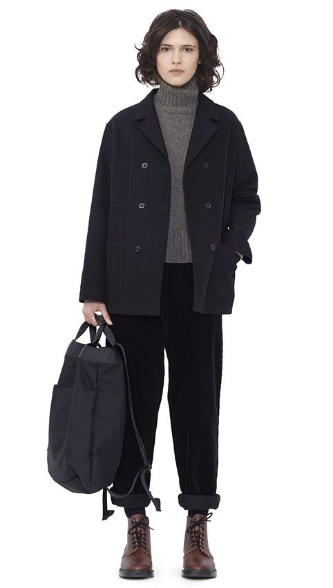 WOMEN AUTUMN WINTER 15 - Black moleskin DB Jacket MHL, pebble merino wool Roll Neck MHL, black corduroy Braces Trouser MHL, navy Shetland wool Knee High Sock MHL, brown leather Derby Boot MHL, black acrylic canvas 2 Way Rucksack MHL