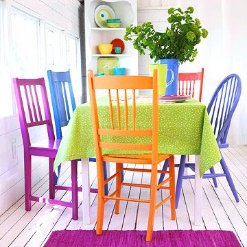 I LOVE this. I know it's so opposite of what is going on in my house now, but I LOVE color. I LOVE the mix match of all this stuff. Maybe one day I'll be bold and daring enough to do this. :)