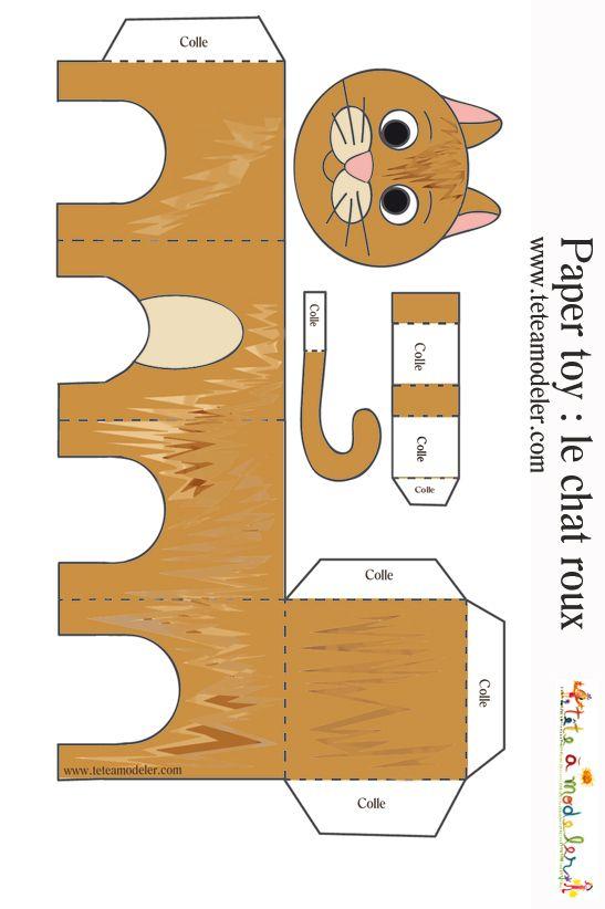 Paper toy du chat roux imprimer sur t te modeler tom and co paper toy bricolage papier - Chat a colorier maternelle ...