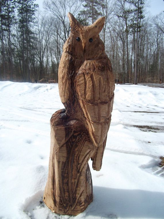 Chainsaw carved great horned owl