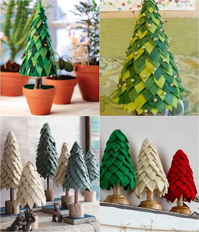 Felt Christmas trees decorated with pins
