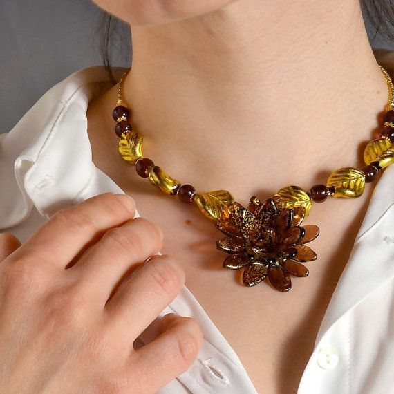 Murano glass original Necklace amethyst flower  by YourMurano