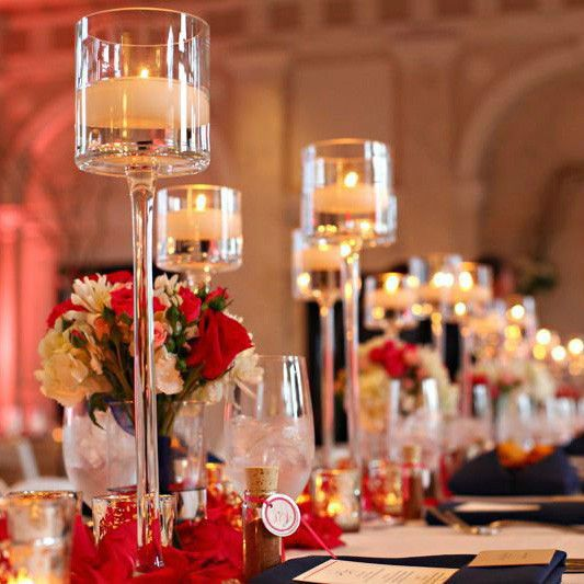 These giant wine glasses make an awesome focal point for your table centerpiece. The glasses can be filled with anything with water or colored water and place floating candles inside; this makes anoth